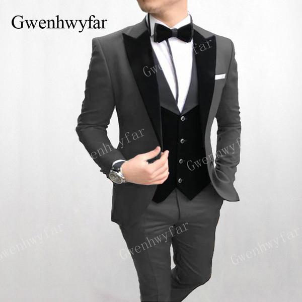 Gwenhwyfar Personalizado Traje de Traje Formal Masculino Slim fit Diseño de Moda Gris Trajes de Baile de Novios Esmoquin de Novio Para Hombres Desgaste de la Boda 3 Unidades