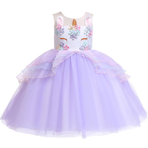 Halloween Girls Princess Skirt Lace Tutu Unicorn Dress Child Dress Best Selling Ball Grown Wedding Birthday Party Children Wear XF13