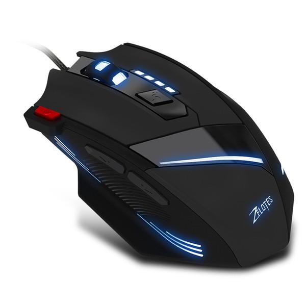 Souris de jeu ZELOTES T-60 de vente chaude 3200 DPI 7 boutons led souris rétroéclairées USB filaire gamemice pour ordinateurs de bureau