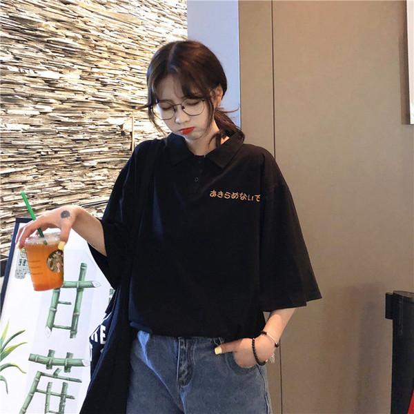 Tasarımcı kadın Polos Hayvan logosu gevşek Lüks Rahat Katı Marka 2019 Kadın Yaz Gömlek Polo Yaka Kısa Kollu kadın giyim