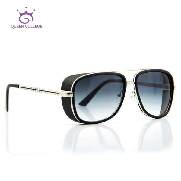 Großhandel-Queen College Retail Brand Rahmen Iron Man Downey Sonnenbrille Männer Goggle Sonnenbrille 6 Farben Oculos De Sol UV400 QC0075