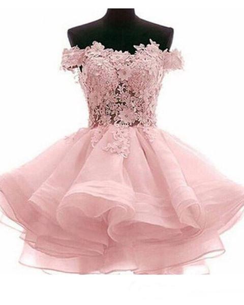 Pink Short Lace Evening Prom Vestido de línea sin mangas para niña Vestidos de fiesta con apliques CoScktail ocasión especial Tamaño grande