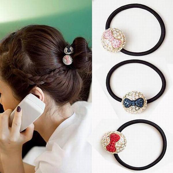 Fashion Crystal Beads Bowknot Elastico Hair Band Rubber Hairband per le donne Ragazza Headwear Accessori per capelli