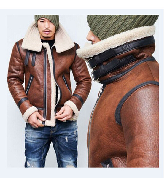 Mens Winter Coat Autumn and Winter Motorcycle Leather Mens Wool Zipper Warm Flight Jacket Asian Size M-4XL