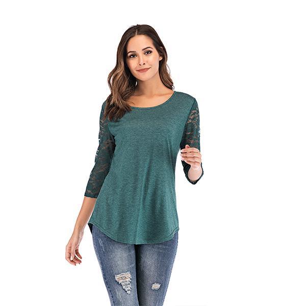 Summer women lace raglans lady lace sleeve solid body raglan shirts o neck fashion new design t shirts