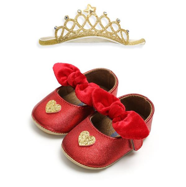 INS Fashion Love Heart Baby Shoes Bow Spring Autumn Infant Princess First Shoes + Crown headbands 2pcs sets Newborn Prewalker C4304