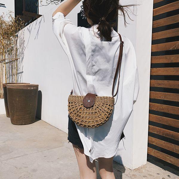 2019 New Vintage Rattan Handbag Female Hobos Women Saddle Bohemian Summer Beach Straw Bag Simple Weave Bag Handmade Casual Tote