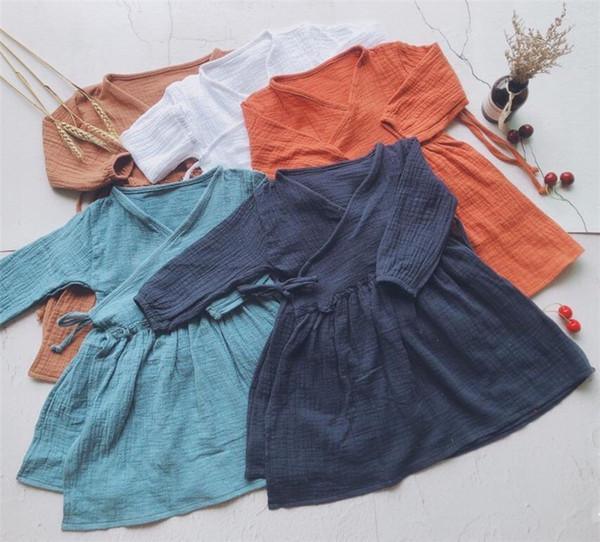 Newest INS Little Girls Linen Cotton Dresses Blank V-neck Straps Wasit Long Sleeve Spring Autumn Children Girls Dresses for 1-6T