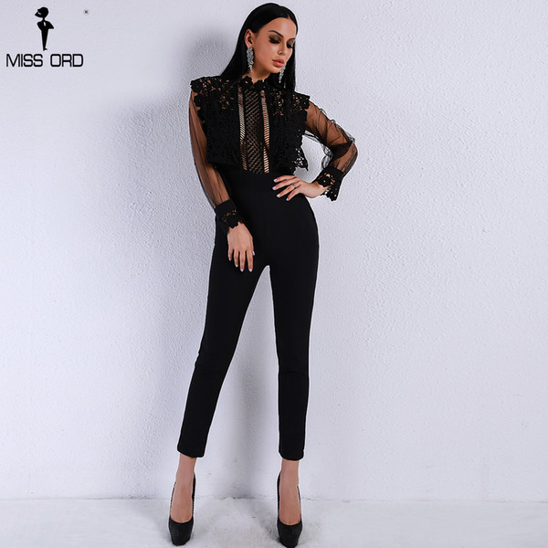 Missord 2019 Spring And Summer Sexy Lace See Through Mesh Hollow Out Long Sleeve Rompers Black Color Jumpsuit Ft9079 T4190615