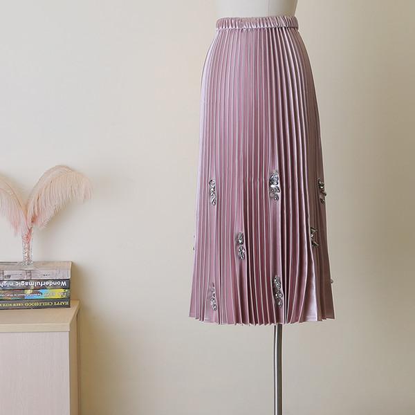 Skirt 2019 a Female Shaking Sound Fairy Princess Dress Embroidered Flares High Waist A-line Skirt Long Pleated Skirtof