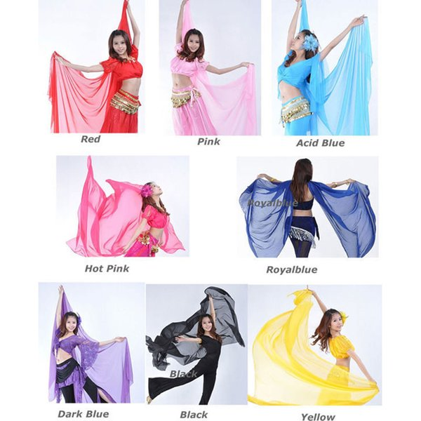 2016 Hot Popular Belly Dance Chiffon Big Veil Shawl Bufanda Adorno de oro para mujer en oferta 240 * 120 cm