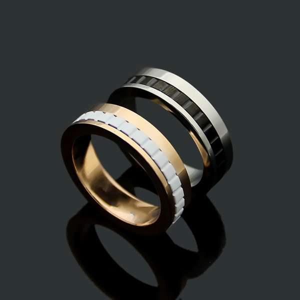 High quality rose gold Titanium rings for couple women men fashion jewelry accessories silver narrow gear ring