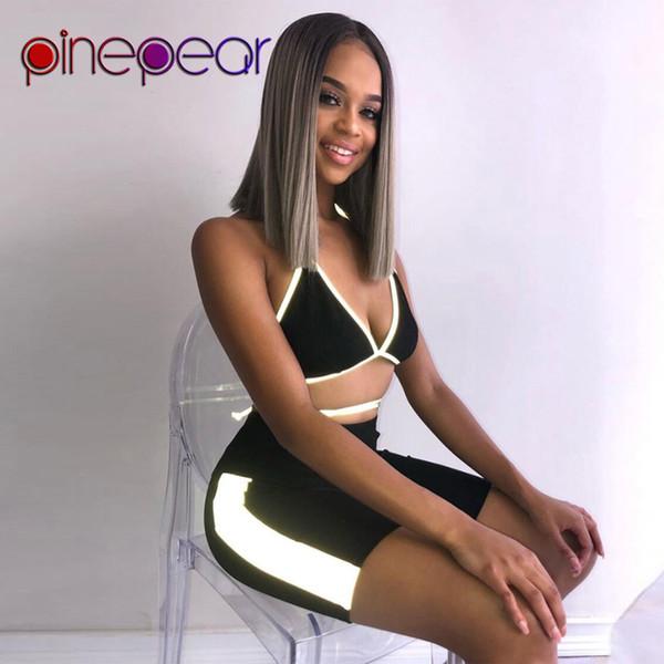 Reggiseno sportivo riflettente PinePear Top + Shorts Set 2 pezzi Donna 2019 Summer Night Sportswear Sport Suit Abbigliamento da palestra Drop Shipping