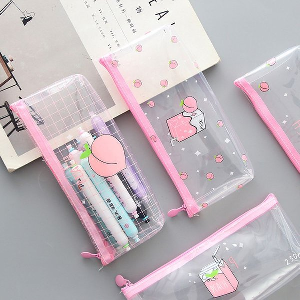 Peach Milk Transparent PVC Pencil Case Cute Storage Pencil Bag Stationery Student pouch School Pen Case School Supplies
