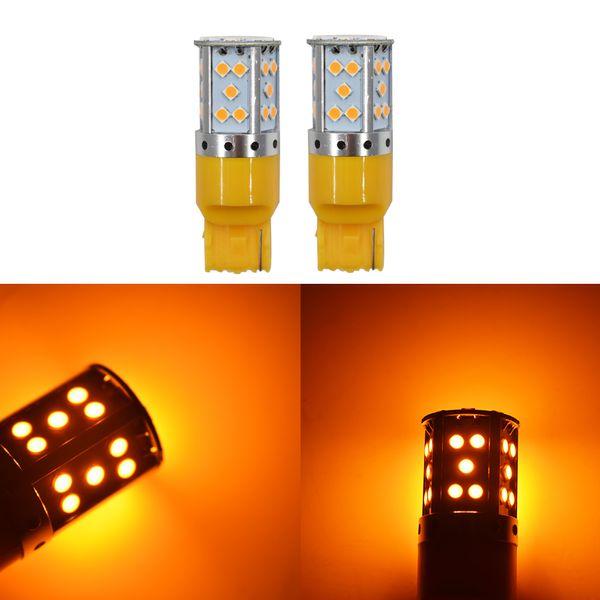 2 X Sin Resistencia Amarillo ámbar 7440 35SMD T20 Bombillas LED Luces de señal de giro canbus
