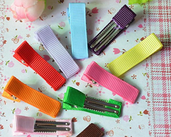 best selling 500pcs girl 35mm mini cover Ribbon Lined Hair Bows Clips double Prong Alligator Hair Clip Hair Accessories headwear FJ3203