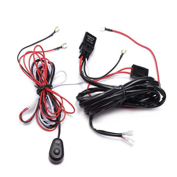 ECAHAYAKU 1x 2M Car LED Light Bar Wire Wiring Harness Relay Loom Cable Kit Fuse for Auto Driving Offroad Led Work Lamp 12v-24v