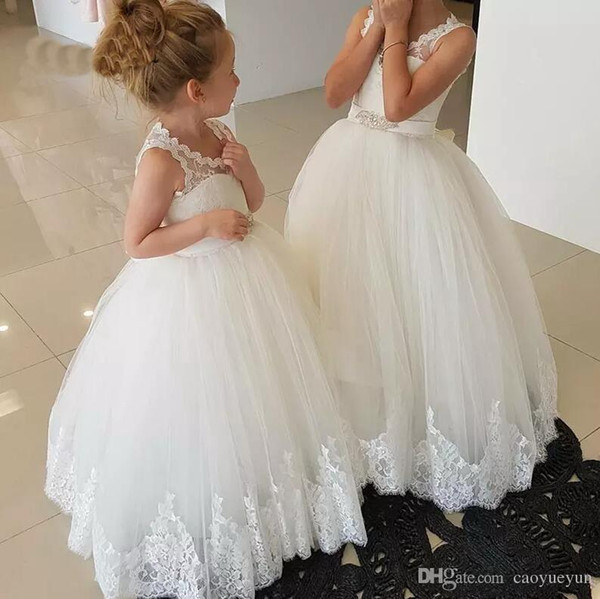 Tulle Lace Flower girl Dress for Wedding Puffy Girls Birthday Party Gowns Appliques Holy First Communion Gowns Custom Made