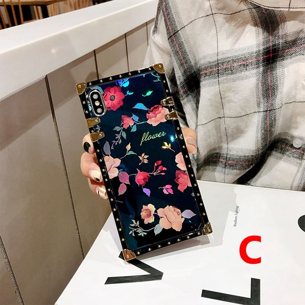 One Piece Famous Fashion Luxury Chic Flowers Square Designer Phone Cases Back Cover For iPhone 6 S 7 8 Plus X XS Max XR Case for gift