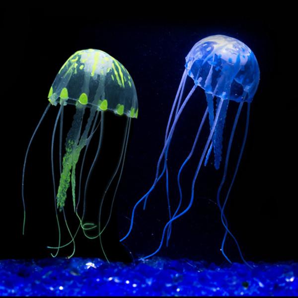 2019 New Silicone Aquarium Glowing Swim Effect Artificial Jellyfish Ornament Fish Tank Underwater Luminous Landscape Decoration From Lixin2018 115