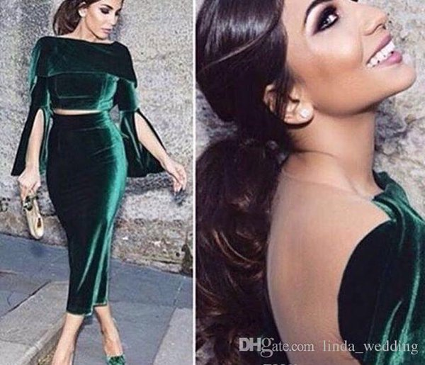 2018 Sexy Green Two Pieces Prom Dress Vintage Velvet Ankle-Length Formal Holidays Wear Graduation Evening Party Gown Custom Made Plus Size