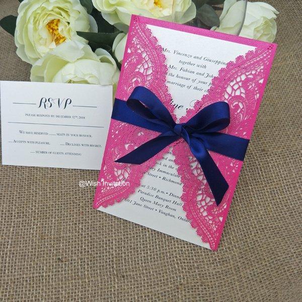 Compre Azul Marino Arco Láser Flor Cortada Invitaciones De La Boda 2019 Tarjetas Invitación Elegante Para La Ducha Nupcial Matrimonio Graduación Libre