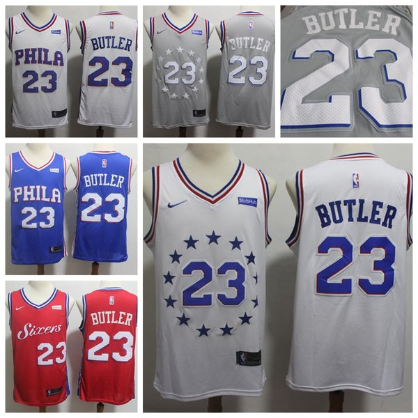 huge selection of 3b76d 07e77 2019 2019 Mens 23 Jimmy Butle Playoff White Jersey 76ers Basketball Jersey  Stitched New City Edition Jimmy Butler Jerseys 76ers Basketball Shorts From  ...