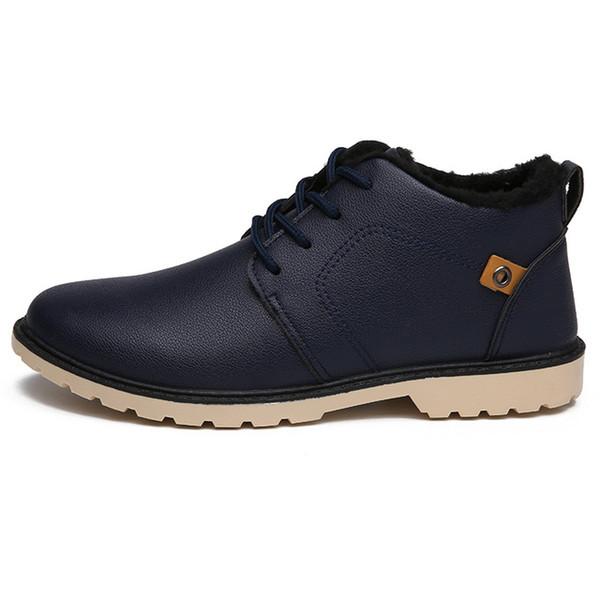 ZYYZYM Mens Boots Autunno Inverno Lace-Up stile caviglia Moda classica cotone imbottito scarpe peluche caldo uomo stivali da neve 2018 vendite calde