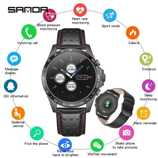 SANDA Bluetooth Smartwatch Sport Fitness Bracelet Leather Watches Men Women Heart Rate Sleep Tracker Smart Watch for iOS Android