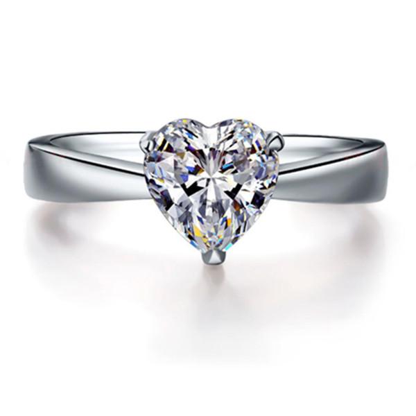 7 * Prueba de 7 mm como real! Sólido joyería 14K oro blanco anillo solitario 2CT anillo de diamantes de compromiso Moissanite corazón por un regalo de las mujeres 585