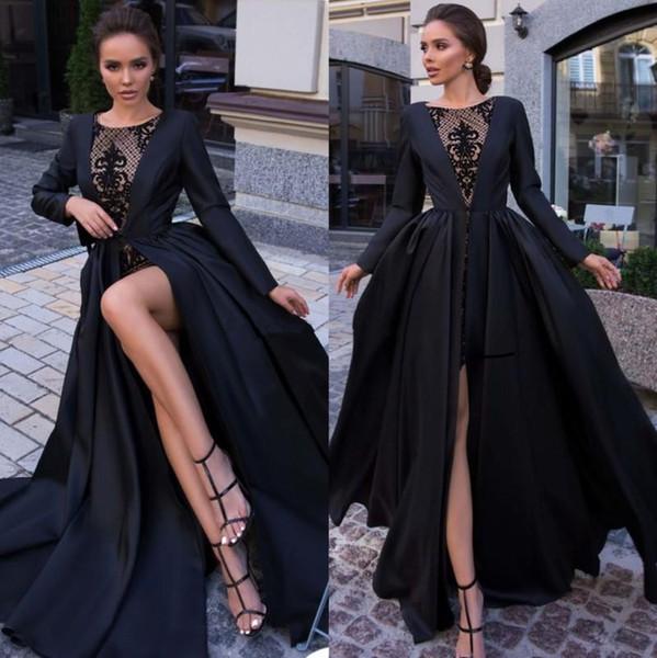 Designer Black Lace Prom Dresses With Jacket Bateau Neck Long Sleeves Evening Gowns Floor Length Plus Size Satin Formal Dress