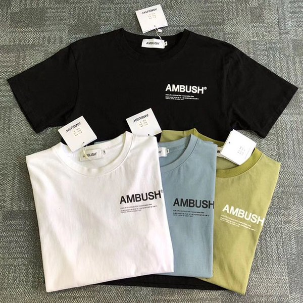 Streetwear Ambush T Shirts Summer Brown Blue Black White Ambush T-shirt Kanye West Men Women Casual Cotton Solid Ambush Top Tees Y190509