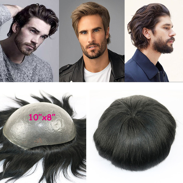 Human Hair Toupee for Men Super Thin Skin Hair Replacement Wig Hairpiece with 10x8 inch Soft Swiss Lace Cap