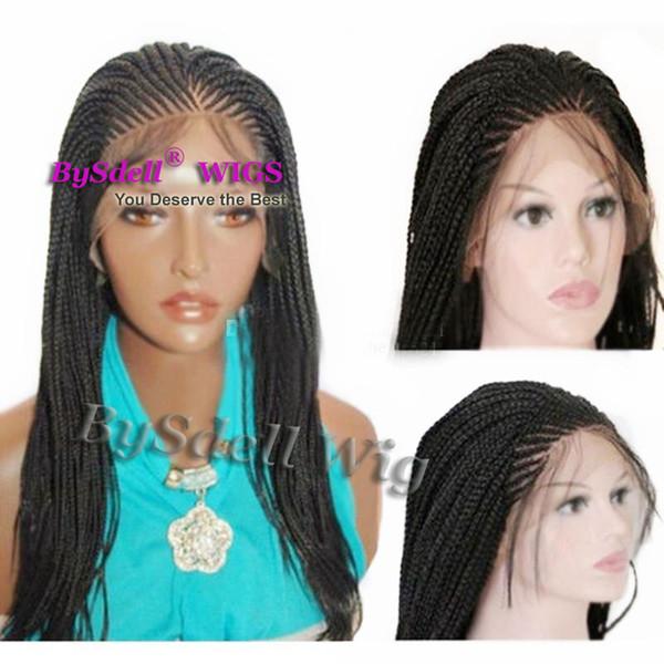 Top Lace Synthetic Frente peruca preta Micro trança com o bebê de cabelo Hot populares trançado perucas para mulheres resistente ao calor Fibre Box Braid Perucas