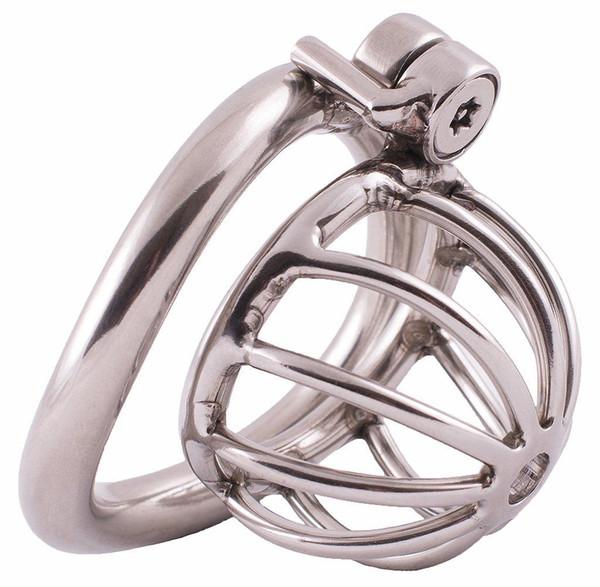 Macho Jaula de castidad pequeña fijada con tornillo Dispositivo de cinturón de cierre de acero inoxidable para hombres Extra Corto Tubo de drenaje de metal suave DoctorMonalisa C161