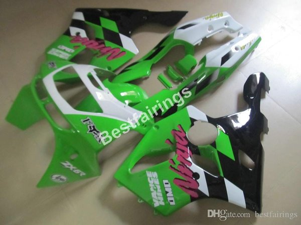 Motorcycle fairing kit for Kawasaki Ninja ZX6R 1994 1995 1996 1997 green white black fairings set ZX6R 94 95 96 97 MT25