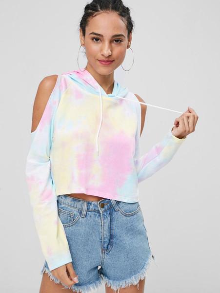Kenancy Crop Tie Dye Women Cropped Hoodies Spring Off Shoulder Hooded Long Sleeve Women Sweatshirt Streetwear Tops