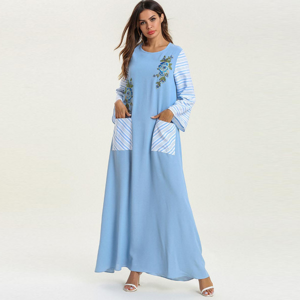 Spring Large size clothing Women Long Sleeve Striped Printed Flower Embroidery Fashion Muslim Casual Loose Maxi dress with pocket