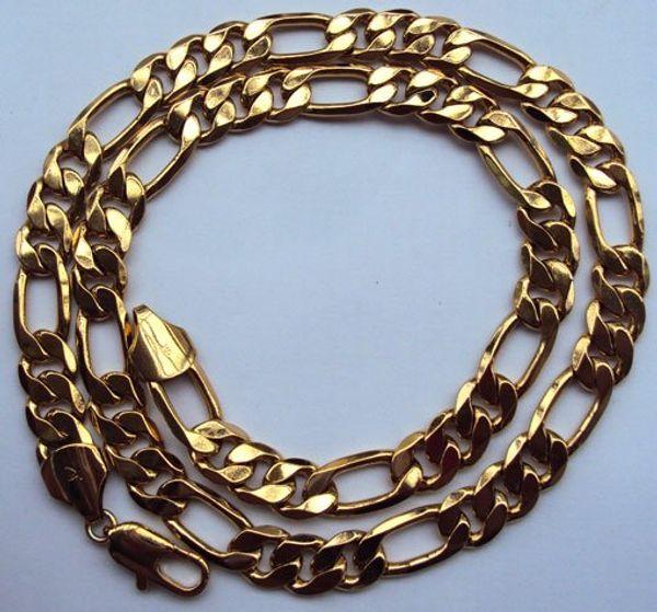 Joyas regalo Heavy Classic hombres oro amarillo sólido collar de cadena FINISH 23.6inch
