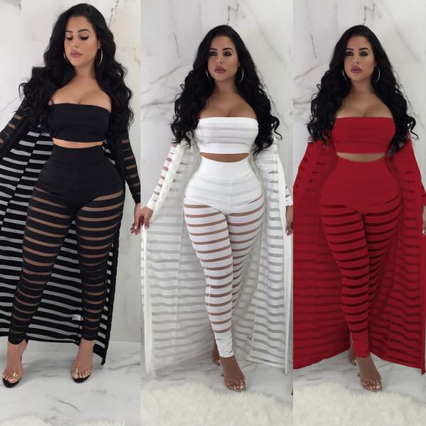 ea86fda97a61d 2019 Son Trendy Üç Adet Kadınlar Casual Kıyafetler Moda Sırf Çizgili Kısa  Üst Uzun Kollu Hırka