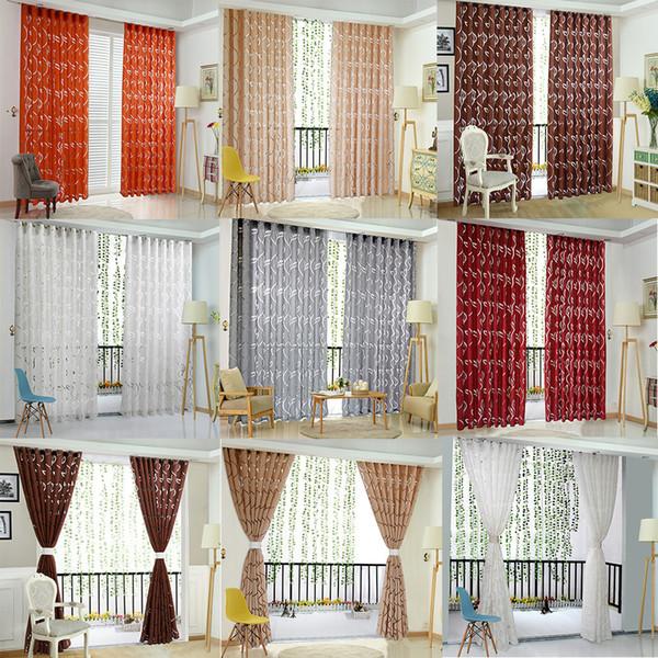 Cortina de janela de alta qualidade sala de estar Videiras Folhas Tulle Door Curtains Drape Painel Sheer Scarf Valances L726