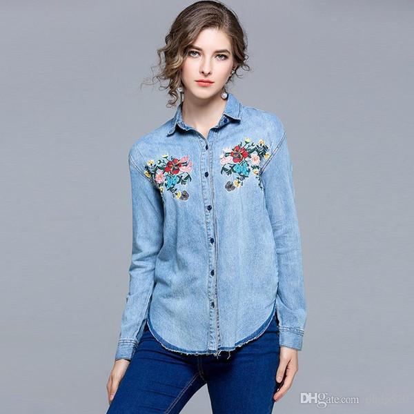 La mode brodée Wear Do White Utilisé Flash Graduel Changement Couleur Lavage Laver Shirt Femme Manches Longues