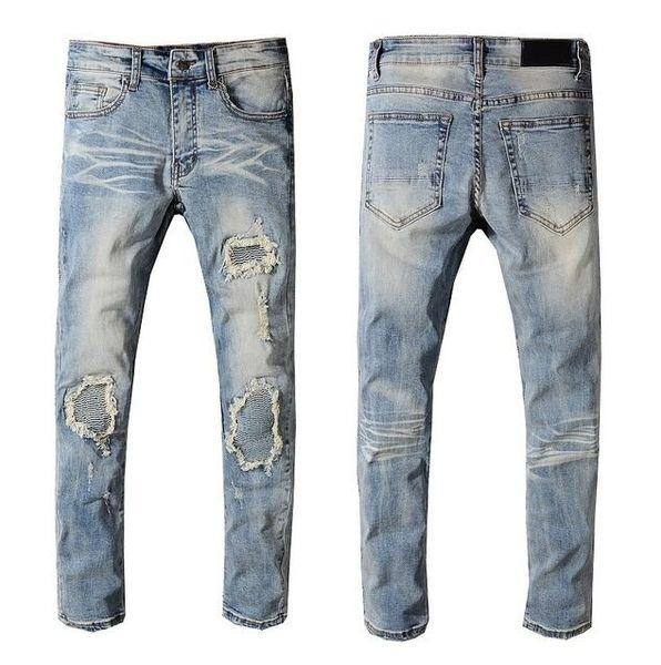 2019 dos homens Slim Fit Jeans Motociclista Denim Para Os Homens Buraco Calças Compridas Hip Hop Jeans Skinny Buracos Calças