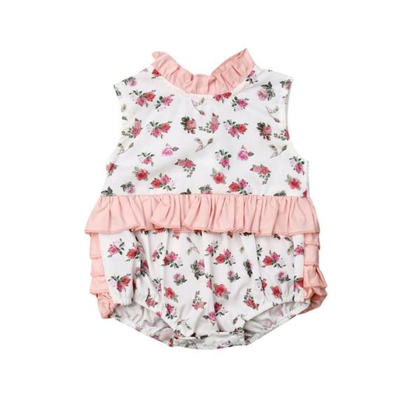 2019 Mais Novo Estilo Recém-nascidos Infantis Kid Baby Girl Primavera Verão Floral Sem Mangas Adorável Romper Outfits Roupas 6-24Months