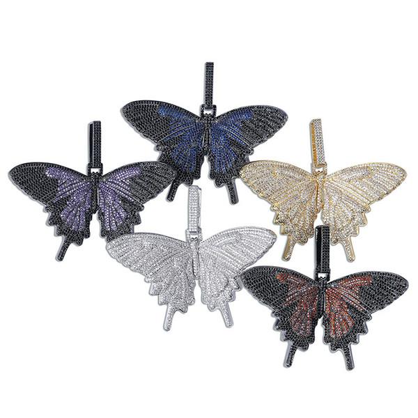 New Fashion Creative personality Romantic Butterfly Shape Diamonds Steel 18K Gold Plated Pendant Necklace Designer Charm Pendants