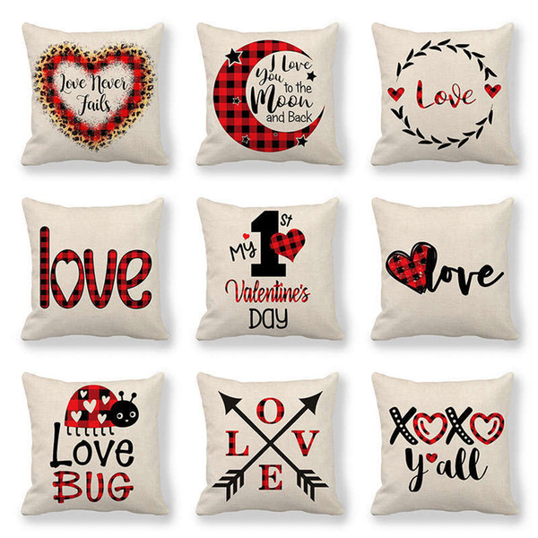 top popular 123 Designs Valentines Pillows Case Valentine's Day Letter Printing Heart Pillow Cover 45*45cm Sofa Nap Cushion Covers Home Decoration 2021