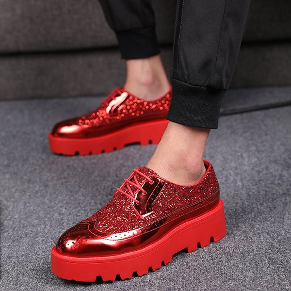 Hot Sale-Elevator Shoes Brand mens Shiny patent Leather for men Banquet dress Shoes Thick Bottom Platform Nightclub Party Shoes