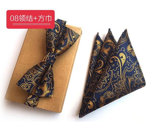 SCST Marca Gravata Oro Paisley Stampa Fazzoletto Blu Uomo Seta Cravatte Per Uomo Papillon Con Fiammifero Tasca Quadrato 2 pz Set A058