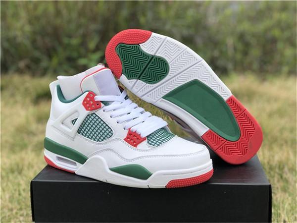De calidad superior 2019 4 Nrg blanca Pizzeria para los zapatos de baloncesto de los hombres Garganta Verde Blanco Rojo Varsity Aq3816 -063 zapatos auténticos size13
