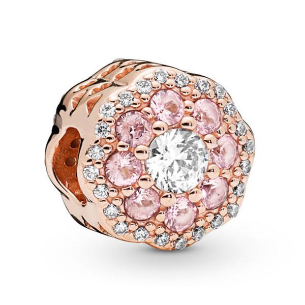 2019 NEW 100% 925 Sterling Silver Pink Spark Flower Charm Rose Gold Bead Fit European Lady DIY Women Bracelet Jewelry Gift 787851NPM